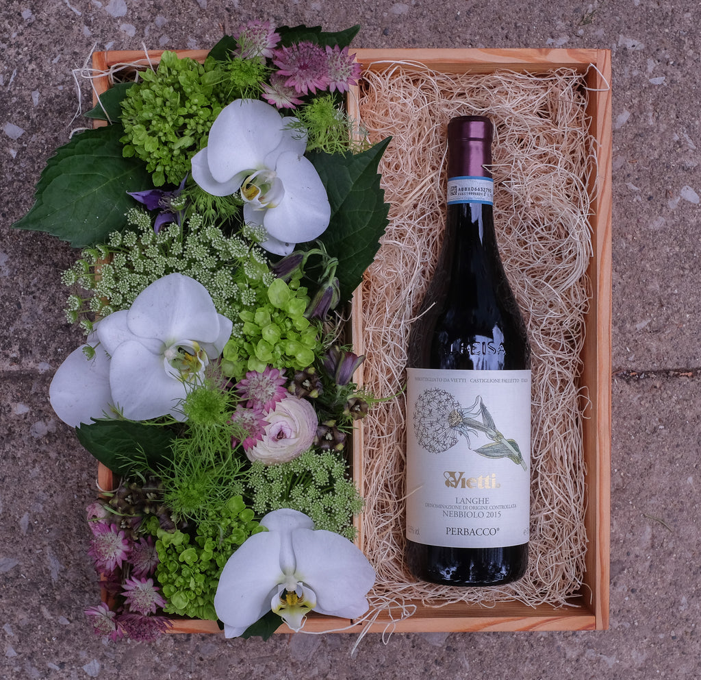 A Bottle of Vietti Red wine and Flowers in a Gift Crate