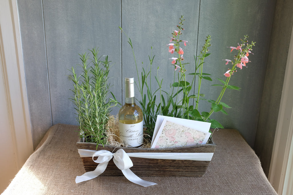 White wine gift box with herb plants