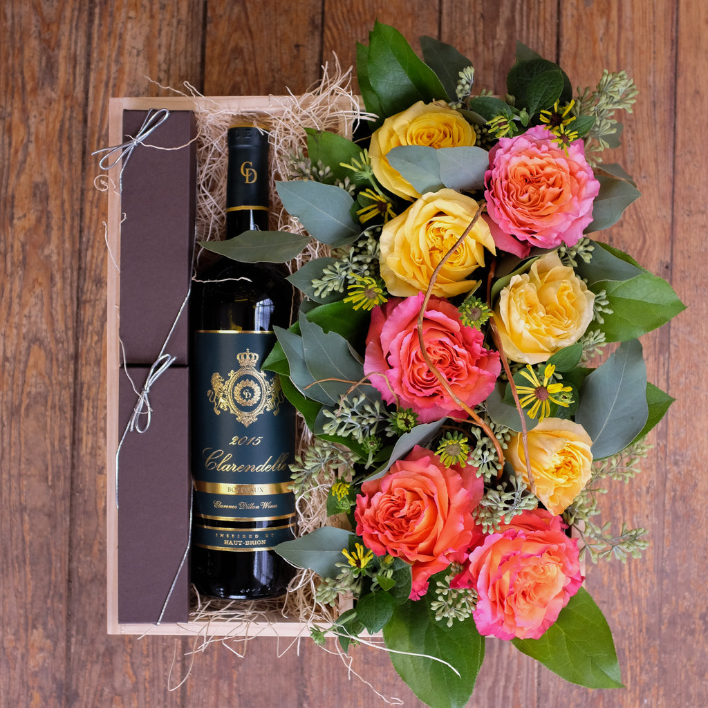 Wine, flowers and chocolates gift crate by Michler Florist, Lexington, KY.