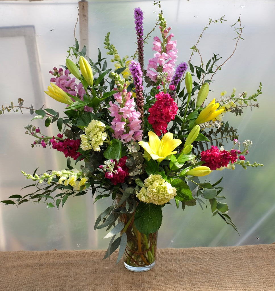 Zamora Large Floral Vase Arrangement designed with Liatris, Snapdragons, Matthiola, Hydrangea, and Lilies by Michler's Florist in Lexington, KY