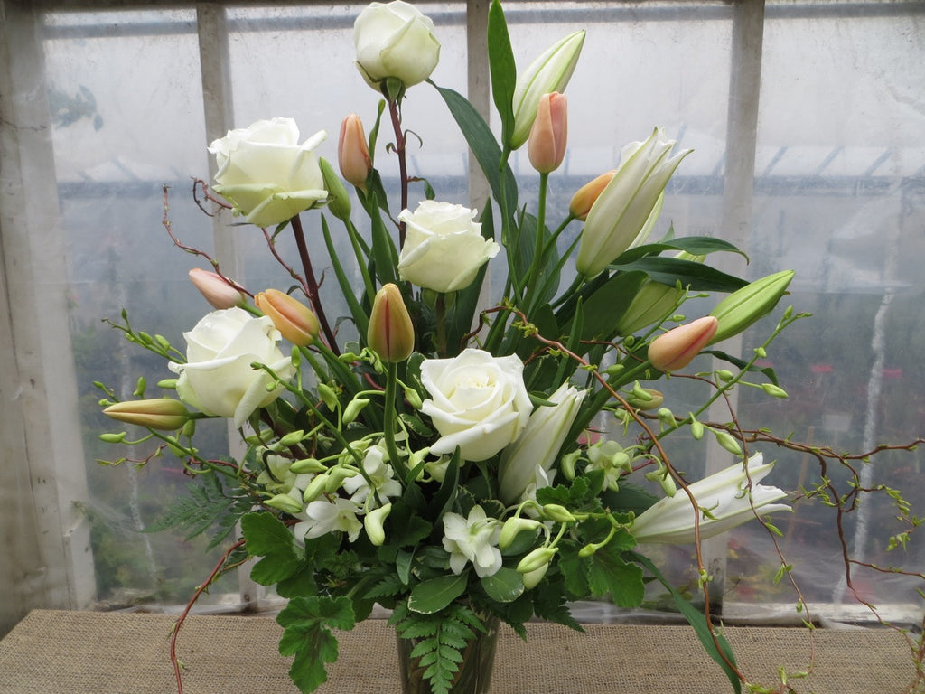White and Peach Floral Vase Arrangement. Designed by Michler's Florist in Lexington, KY