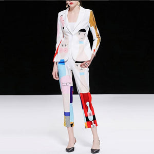 Dali Surreal Printed Pants Suit In White