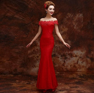 Off Shoulder Mermaid Chinese Wedding Party Dress