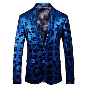 Metallic Flower Square Blazer