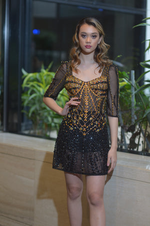 Black and Gold Crystal Dress
