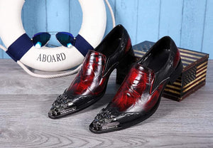 Metal Red & Black Pointed Toe