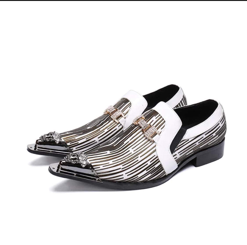 Italian Pattern White Gold Shoes