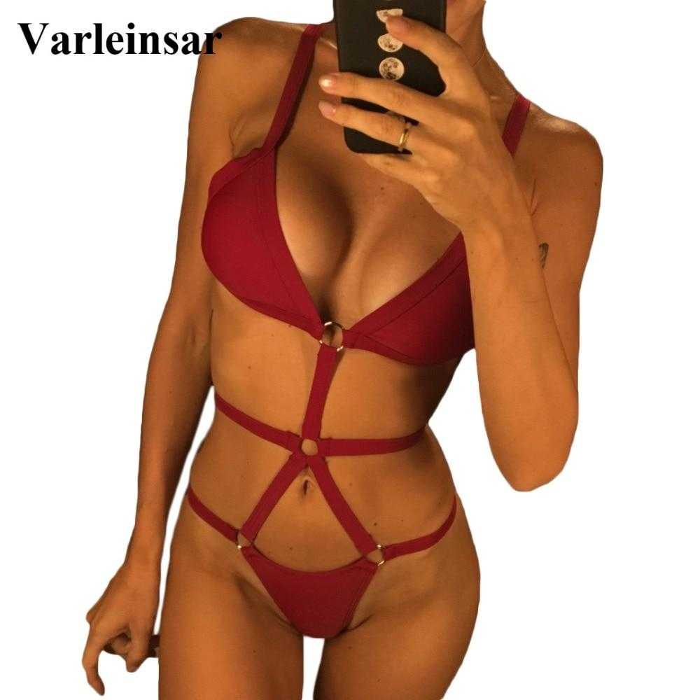 8a5bf39a3875d Load image into Gallery viewer, 3 Colors Sexy Wine Bandage Caged One Piece  Swimsuit Women ...
