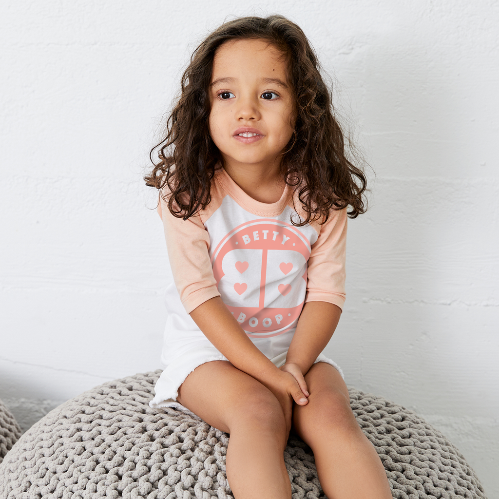 'BB' Toddler Baseball T Shirt White/Peach