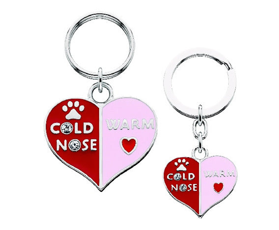 Cold Nose Warm Heart Keyring and Charm Set