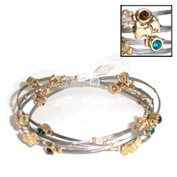 Dog Themed Gold and Silver Wire Bracelet