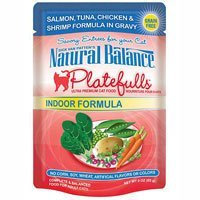 Natural Balance Platefulls Indoor Salmon, Tuna, Chicken & Shrimp Formula in Gravy Cat Food Pouches -Salmon, 24 count-3 oz by Natural Balance