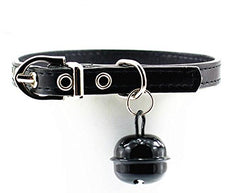 Dogs Kingdom Small Bell Pu Leather Collar For Small Dogs Or Cats Black XS