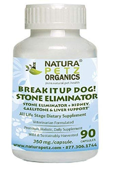 Natura Petz Break It Up! Stone Eliminator (All Types), Kidney, Gallstone and Liver Support for Pets, 90 Capsules, 350mg Per Capsule