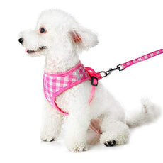 Petetpet Puppy Harness and Leash,Breathable Adjustable Pet Vest Harness Leash Set for Cats and Dogs,No-Pull and No Choke Easy Control Cat Harness and Small Medium Dog Harness for Pet Walking Training Pink S