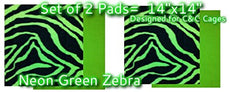 "SET OF 2 Fleece Pee Pads for Guinea Pigs, Chinchillas or Small Animals. Works with Fleece Lined Cube and Coroplast Cages (C&C) Approx 14"" sq. Environmentally Friendly and Reusable for Years! 2 Set Neon Green Zebra"