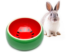 Mkono No-Tip Ceramic Rabbit Food Bowl Feeder for Guinea Pig Hamster Chinchilla Watermelon