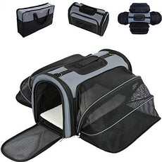Smiling Paws Pets 4 Way Expandable Soft Sided Airline Approved Pet Carrier for Cats and Dogs, Black/Grey | Folding for Easy Transport | for Air or Car Travel, Meets Most Under Seat Requirements Medium