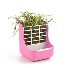zswell Hay Food Bin Feeder, Hay and Food Feeder Bowls Manger Rack for Rabbit Guinea Pig Chinchilla and Other Small Animals Pink