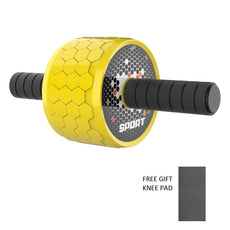 Ab Roller Wheel Honeycomb, Abdominal Exercise Wheel for Core Strength Training with Knee Mat, Wide Wheel with Sponge Handles, Skid Resistance, Silence, Pro Ab Workout Equipment for Home Gym Yellow