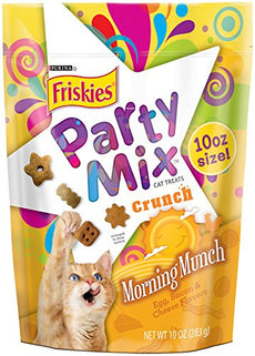 Purina Friskies Party Mix Crunch Morning Munch Cat Treats 10 oz. Pouch (Pack of 4)