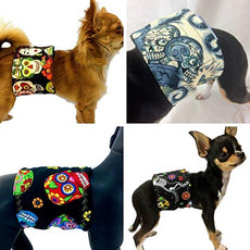 4-Pack The Dog Belly Band Diaper Sugar Skulls Day of The Dead Washable Waterproof XS 5-14""