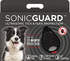 SonicGuard Tick and Flea Repeller for Pets – 100% Safe Ultrasonic Pest Repellent – Pet and Human Friendly – Cruelty-Free – Ideal for Fleas, Ticks, Parasites – Wide Range – User-Friendly Black