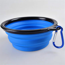 NACOCO 2 pcs Folding Pet Bowl Travel Pet Cup with Carabiner Silicone Material Blue