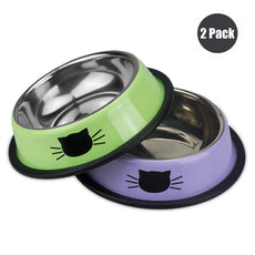 Ureverbasic Cat Bowls Stainless Steel Dog Bowl 8oz for Small Pets Puppy Kitten Rabbit Non-Skid Cat Food Bowls Easy to Clean Durable Cat Dish for Food and Water Green / Lavender