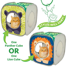 Kitty City Pop-up Cat Cube, Play Kennel, Cat Bed, Jungle Combo, Collapsible Cat Cube, Cat Bed, Tunnel, Cat Toys Lion Cube