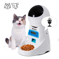 Homdox Automatic Pet Feeder Food Dispenser 4 Meal for Cat Dog Timer Programmable for Small Middle, Big Size Pet Cat Dog White