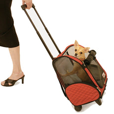 Snoozer Wheel Around 4-In-1 Pet Travel Carrier Red/Black Large