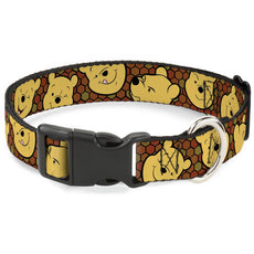"Buckle-Down Breakaway Cat Collar - Winnie The Pooh Expressions/Honeycomb Black/Browns 1/2"" Wide - Fits 9-15"" Neck - Large"