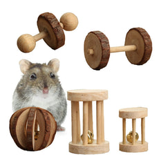 Pevor Pack of 5 Hamster Chew Toys - Natural Wooden Pine Dumbells Exercise Bell Roller Teeth Care Molar Toy for Rabbits Rat Guinea Pig and Other Small Pets Play Toy
