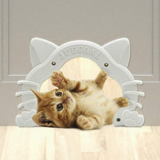 Juegoal Interior Cat Door Kitty Shaped Hole Pet Door for Cat and Small Pets, Fits Inside Door Hides Litter Box Furniture White Cat Door