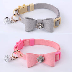 GOPET Adjustable Cat Collar Set Breakaway with Diamonds Bowtie Bell for Puppy Kitten (2 Pack) Gray+Pink