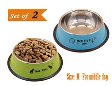 ALFHEIM Stainless Steel Dog bowl With Rubber Base - Set of 2 32 ounce