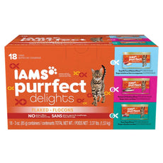 Iams Purrfect Delights Flaked Adult Wet Cat Food Standard Packaging Variety Pack - Seafood 3 oz (Pack of 18)