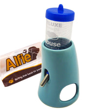 Alfie Pet by Petoga Couture - 2-in-1 Water Bottle with Ceramic Base Hut for Small Animals like Dwarf Hamster and Mouse Blue