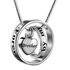 Cremation Jewelry No Longer By My Side, Forever In My Heart Carved Locket Memorial Necklace Keepsake Urn Pendant Brother