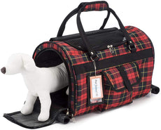 "Prefer Pets: Hideaway Duffel - Pet Travel Carrier - 17""L x 12""H x 10""D - Airline Approved Travel Carrier - Provides A Safe & Secure Way to Travel - Helps Reduce Pet's Fear & Anxiety Red Plaid"