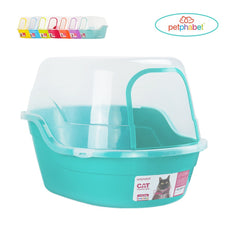 Petphabet Litter Box with Lid - Jumbo Hooded Kitty Litter Pan - Holds Up to Two Small Cats Simultaneously,Extra Large by Teal