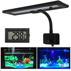 Petacc LED Aquarium Light Clip-on Fish Tank Light Bright Aquatic Plant Lights with Thermometer and 360° Rotatable Gooseneck, 30x 5730 Beads, White and Blue Light,13W