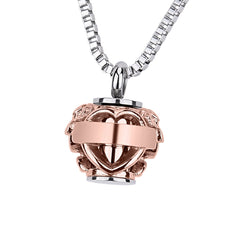 Hollow Heart Rose Bead Cremation Ashes Urn Necklace Engraved Always in my heart Keepsake Memorial Pendant