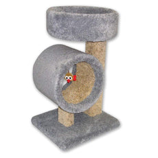 Beatrise Kitty Tunnel Cat Tree with Round Perch Brown 31