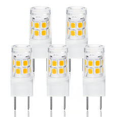 LED G8 Light Bulb, G8 GY8.6 Bi-pin Base LED, Not Dimmable T4 G8 Base Bi-pin Xenon JCD Type LED 120V 50W Halogen Replacement Bulb for Under Counter Kitchen Lighting (5-Pack) (G8 3W Warm White) G8 3w Warm White