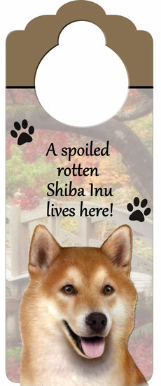 "Shiba Inu Wood Sign ""A Spoiled Rotten Shiba Inu Lives Here""with Artistic Photograph Measuring 10 by 4 Inches Can Be Hung On Doorknobs Or Anywhere In Home"