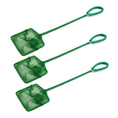 uxcell 3Pcs 7.5cm Width Green Spiral Handle Aquarium Square Fish Net Cleaning Tool