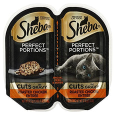 Sheba Perfects Portions Multipack Cuts in Gravy,Roasted Chicken Entree (6-TRAYS) (TOTAL 12-INDIVIDUAL SERVINGS)