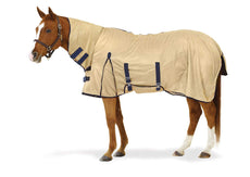 Equiessentials Softmesh Combo Fly Sheet with Belly Band and Attached Neck Cover Tan/Navy 81